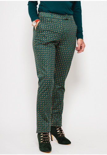 Zilch Printed Slim Fit Trousers, Green