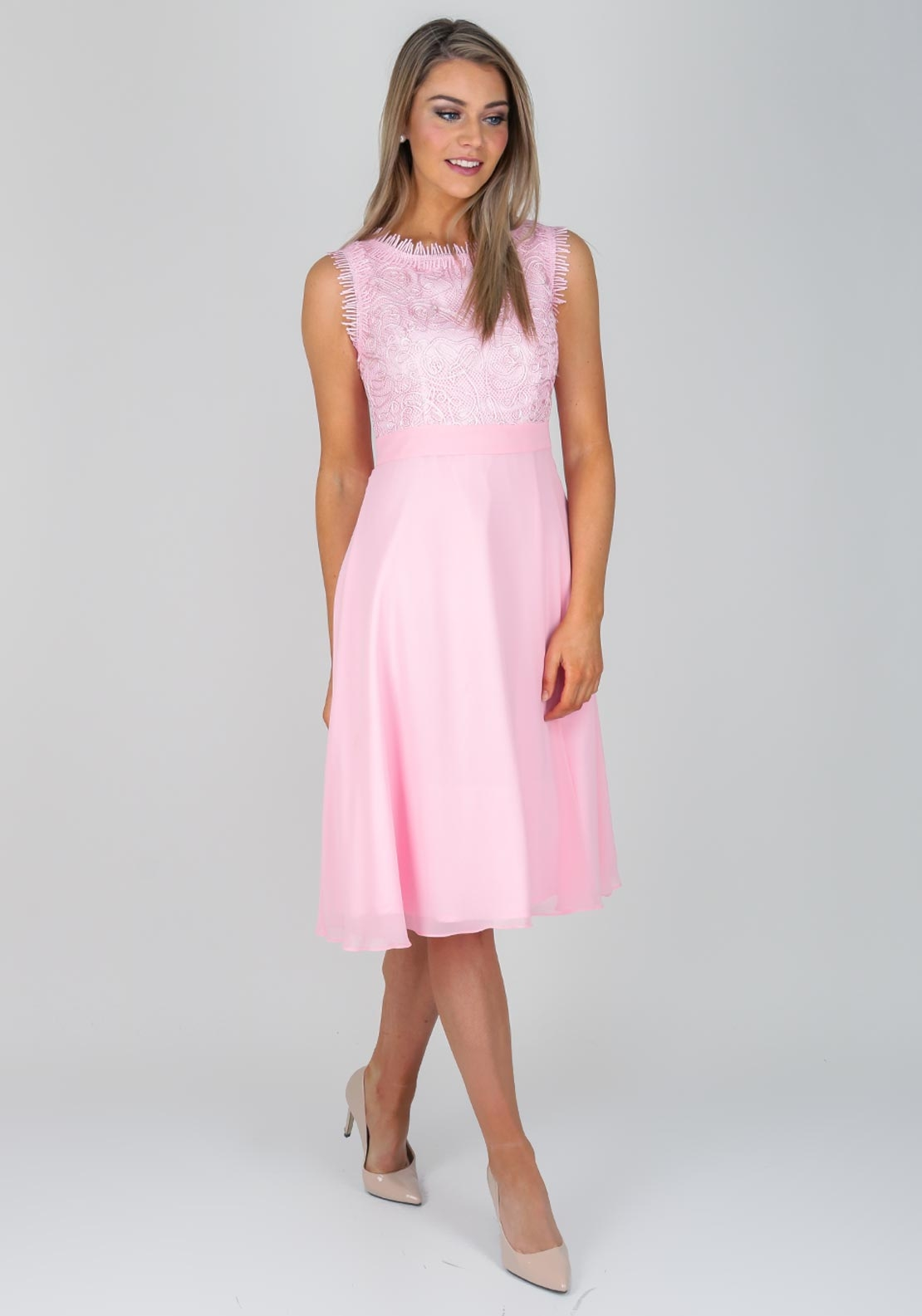 Daisy May Embroidered Bodice Flared Dress Pink Mcelhinneys
