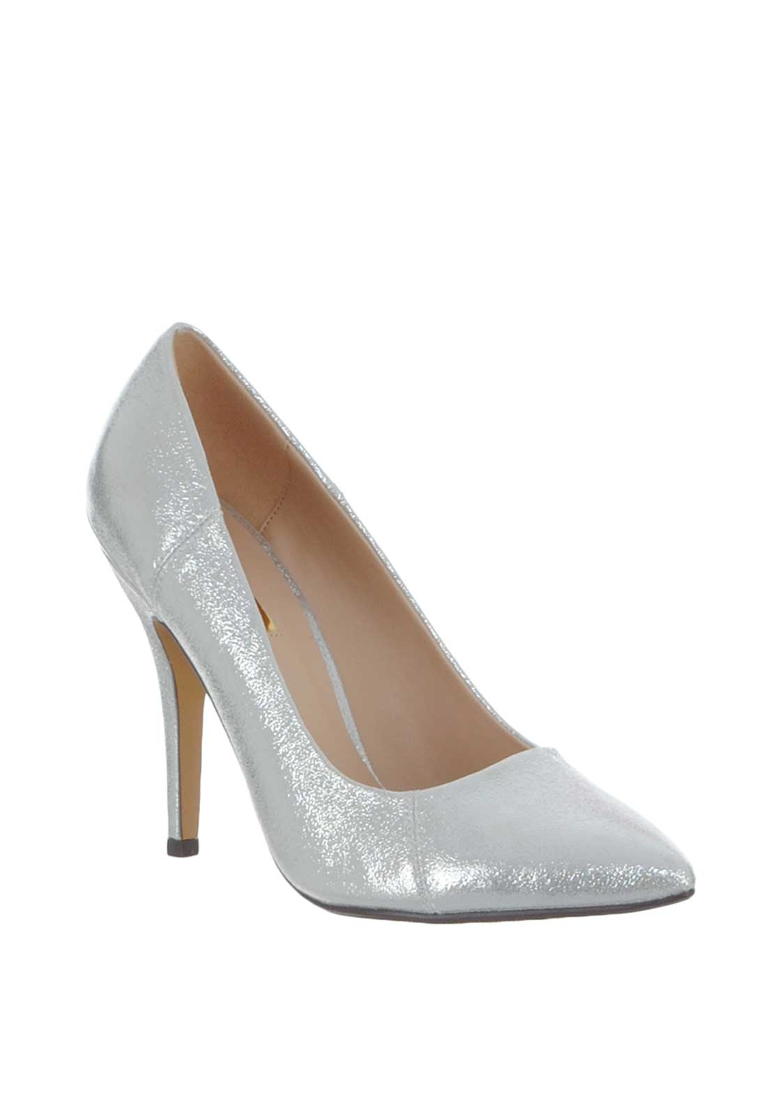 Glamour Carrie Metallic Heeled Shoes, Silver