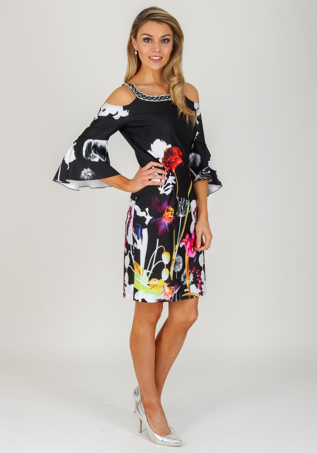 Joseph Ribkoff Floral Bell Sleeve Dress Black Multi