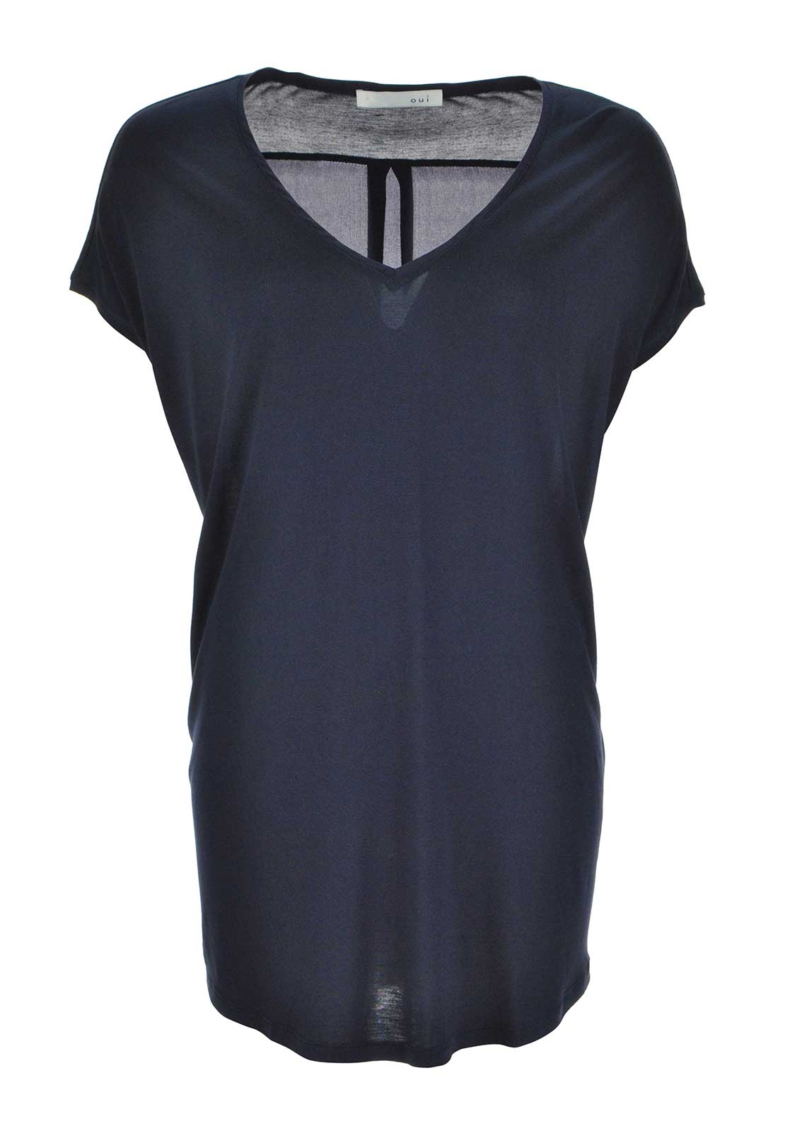 Oui relaxed fit long length short sleeve t shirt navy for Long length long sleeve t shirts