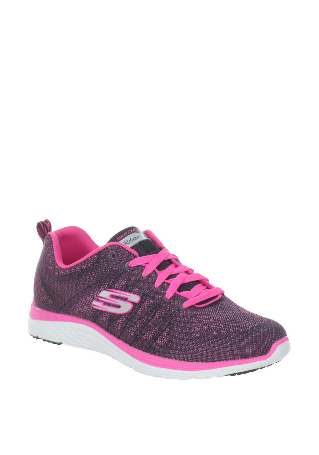 Skechers Womens Relaxed Fit Knit Trainers Pink   McElhinneys